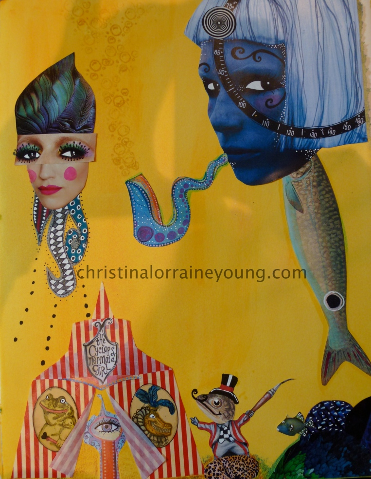 yellow and blue mermaid