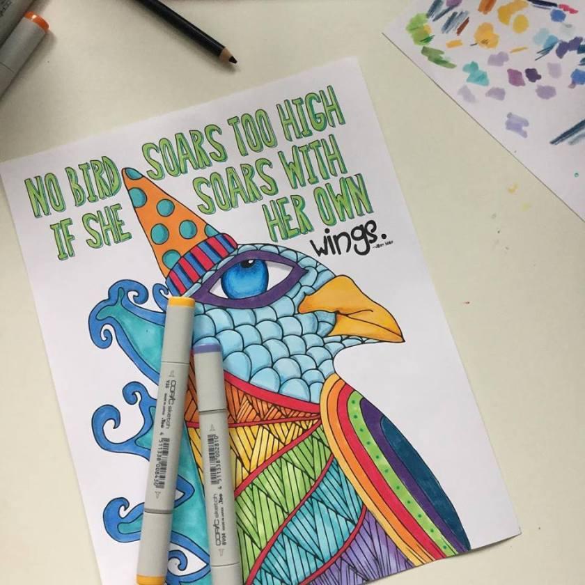 Adult Coloring Books Mixing Copics Colored Pencils